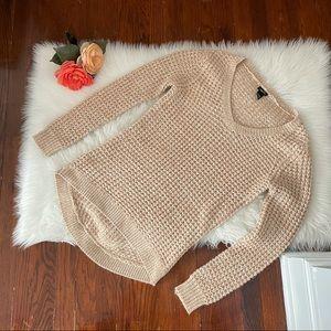 Tan Chunky Sweater Cream V Neck  long sweater